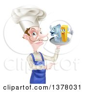 White Male Chef With A Curling Mustache Pointing And Holding A Fish And Chips On A Tray