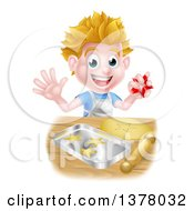 Clipart Of A Happy Blond Caucasian Boy Baking Cookies Royalty Free Vector Illustration