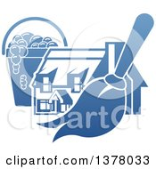 Clipart Of A Gradient Blue House With A Cleaning Bucket And Mop Or Duster Royalty Free Vector Illustration by AtStockIllustration