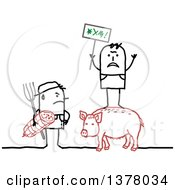 Clipart Of A Stick Farmer Holding A Ham And Glaring At A Protestor Standing On A Pig Royalty Free Vector Illustration by NL shop