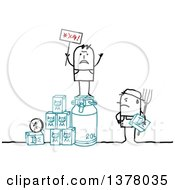 Clipart Of A Stick Dairy Farmer Glaring At A Protestor Standing On Products Royalty Free Vector Illustration