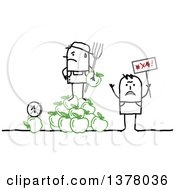 Clipart Of A Stick Farmer Holding A Pitchfork And Standing On A Bunch Of Apples Next To A Protestor Royalty Free Vector Illustration
