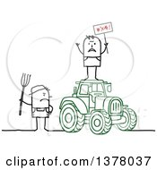 Clipart Of A Stick Farmer Holding A Pitchfork And Glaring At A Protestor On Top Of A Tractor Royalty Free Vector Illustration by NL shop