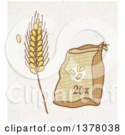 Clipart Of A Sack Of Wheat Flower And Strand On Fiber Texture Royalty Free Illustration by NL shop