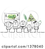 Clipart Of A Group Of Activists Protesting Against Gmos Royalty Free Vector Illustration by NL shop