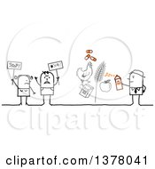 Clipart Of A Group Of Activists Protesting Pesticide And Antiobiotics In Farming Royalty Free Vector Illustration by NL shop