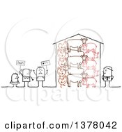 Clipart Of A Group Of Activists Protesting Farm Animal Cruelty Royalty Free Vector Illustration