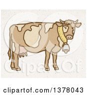 Dairy Cow Wearing A Bell On Fiber Texture