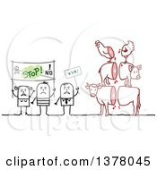 Clipart Of A Group Of Activists Protesting Animal Slaughtering Royalty Free Vector Illustration