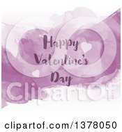 Happy Valentines Day Greeting With Hearts And Purple Watercolor