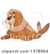 Clipart Of A Happy Walrus Royalty Free Vector Illustration