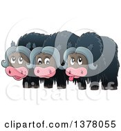 Clipart Of A Group Of Musk Oxen Royalty Free Vector Illustration