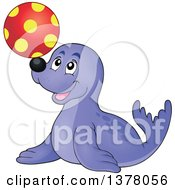 Clipart Of A Happy Seal Playing With A Ball Royalty Free Vector Illustration