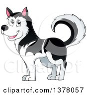 Clipart Of A Happy Husky Dog Royalty Free Vector Illustration by visekart