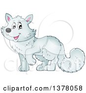 Clipart Of A Happy Arctic Fox Royalty Free Vector Illustration