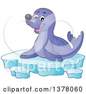 Clipart Of A Happy Seal Sitting On Ice Royalty Free Vector Illustration