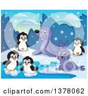 Clipart Of A Happy Seals And Penguins Playing In The Snow Royalty Free Vector Illustration by visekart