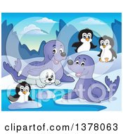 Happy Seals And Penguins Playing