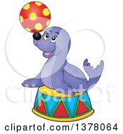 Clipart Of A Happy Seal Playing With A Ball On A Podium Royalty Free Vector Illustration