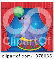 Clipart Of A Happy Seal Playing With A Ball On Stage Royalty Free Vector Illustration