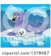 Clipart Of A Happy Seal And Pup Sitting On Ice Royalty Free Vector Illustration by visekart