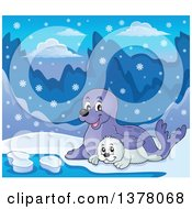 Clipart Of A Happy Seal And Pup Sitting In The Snow Royalty Free Vector Illustration by visekart
