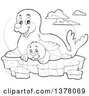 Clipart Of A Black And White Happy Seal And Pup Sitting On Ice Royalty Free Vector Illustration by visekart