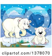 Clipart Of A Polar Bear And Cub In The Snow Royalty Free Vector Illustration