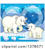 Clipart Of A Polar Bear And Cub By Water In The Snow Royalty Free Vector Illustration