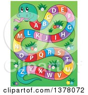 Clipart Of A Happy Snake With An Alphabet Body Over Grass Royalty Free Vector Illustration