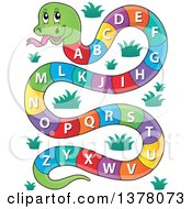 Clipart Of A Happy Snake With An Alphabet Body Royalty Free Vector Illustration
