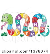 Clipart Of A Happy Snake With A Number Body Royalty Free Vector Illustration by visekart