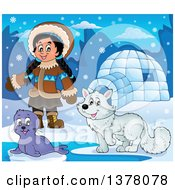 Happy Inuit Eskimo Girl Presenting By A Seal Pup Fox And An Igloo