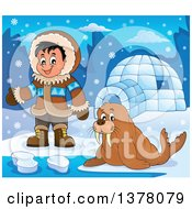 Clipart Of A Happy Inuit Eskimo Boy Presenting By A Walrus And An Igloo Royalty Free Vector Illustration