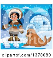 Clipart Of A Happy Inuit Eskimo Girl Presenting By A Walrus And An Igloo Royalty Free Vector Illustration