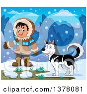 Happy Inuit Eskimo Boy Presenting By A Husky Dog And An Igloo
