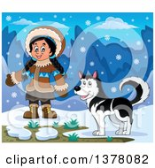 Happy Inuit Eskimo Girl Presenting By A Husky Dog And An Igloo