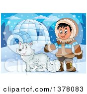 Clipart Of A Happy Inuit Eskimo Boy Presenting By A Fox And An Igloo Royalty Free Vector Illustration by visekart