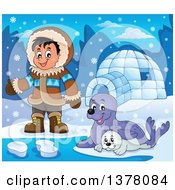 Clipart Of A Happy Inuit Eskimo Boy Presenting By Seals And An Igloo Royalty Free Vector Illustration by visekart