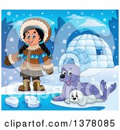 Clipart Of A Happy Inuit Eskimo Girl Presenting By Seals And An Igloo Royalty Free Vector Illustration by visekart