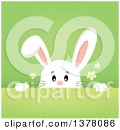Clipart Of A Happy White Bunny Rabbit Peeking Over A Gradient Green Background Royalty Free Vector Illustration by visekart