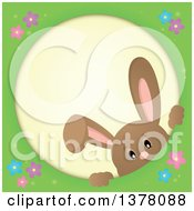 Clipart Of A Happy Brown Bunny Rabbit Peeking Through A Round Frame Royalty Free Vector Illustration