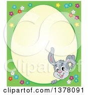 Clipart Of A Happy Gray Bunny Rabbit Peeking Through An Easter Egg Shaped Frame Royalty Free Vector Illustration