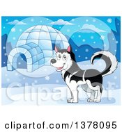 Clipart Of A Happy Husky Dog By An Igloo Royalty Free Vector Illustration by visekart
