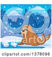 Clipart Of A Happy Walrus In The Snow Royalty Free Vector Illustration by visekart