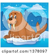 Clipart Of A Happy Walrus On Floating Ice Royalty Free Vector Illustration