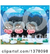 Clipart Of A Group Of Musk Oxen In The Arctic Royalty Free Vector Illustration