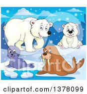Clipart Of A Happy Seal Pup Walrus And Polar Bears In The Snow Royalty Free Vector Illustration by visekart