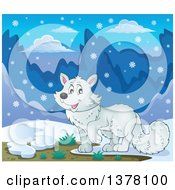 Clipart Of A Happy Arctic Fox In The Snow Royalty Free Vector Illustration by visekart