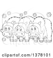 Clipart Of A Black And White Group Of Musk Oxen Royalty Free Vector Illustration